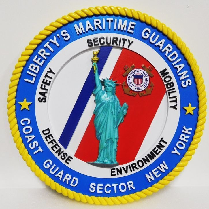 """Y31921 - Carved 3-D Plaquefor Coast Guard Sector New York, """"Liberty's Maritime Guardian"""", with the Staue of Liberty as Artwork"""