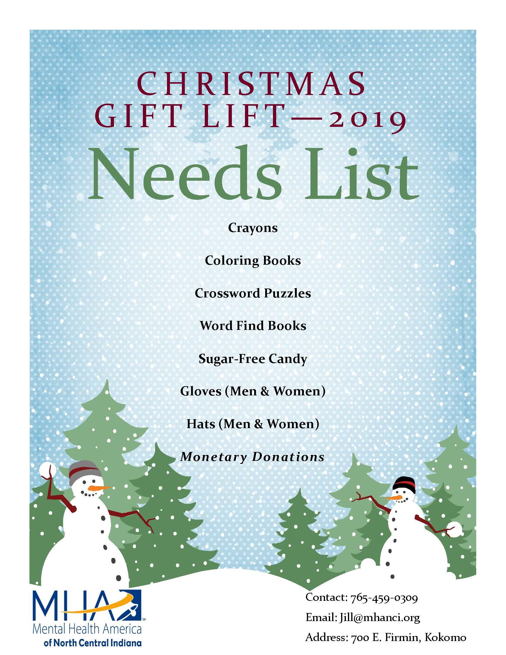 Gift Lift Needs List - 2019