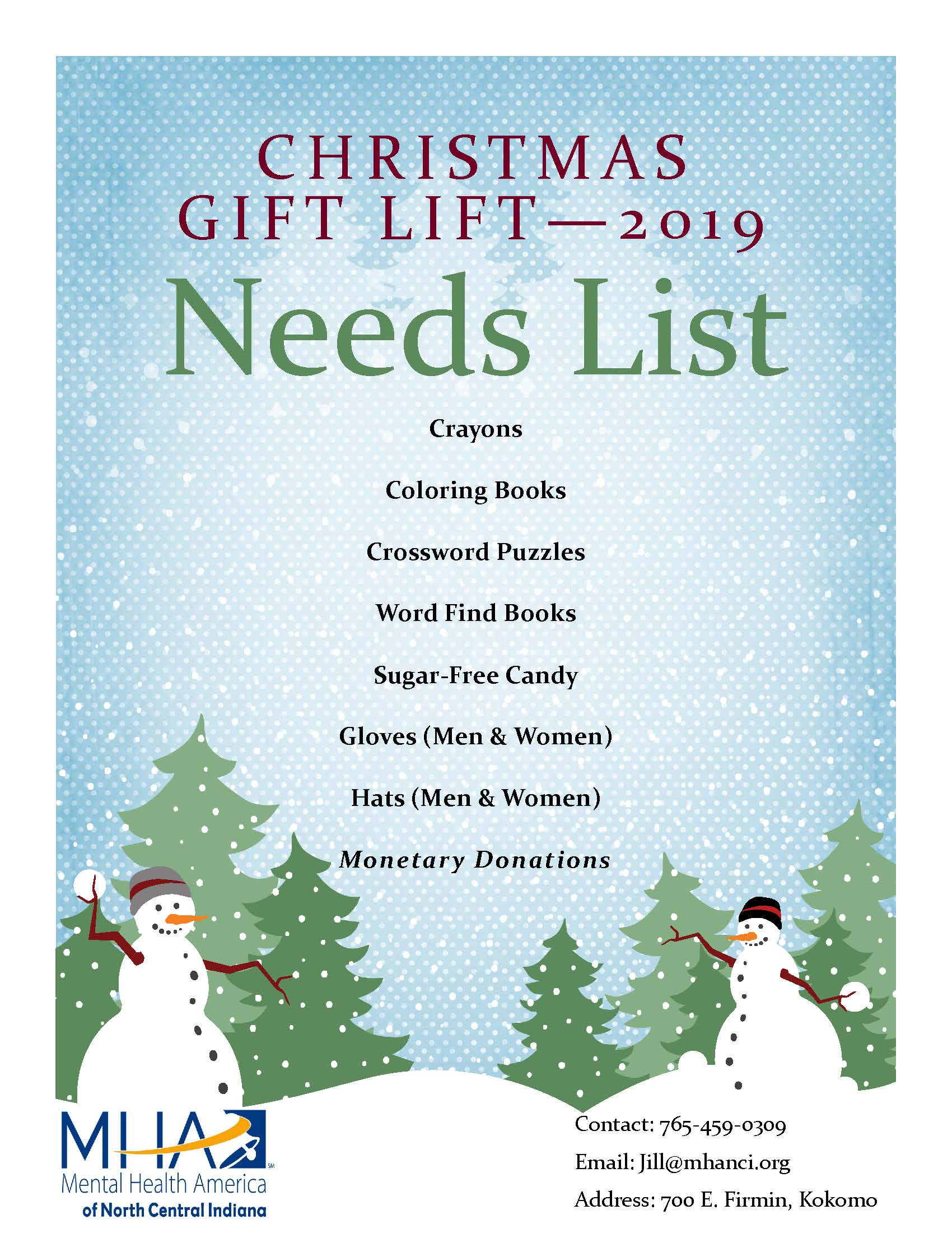 Gift Lift Need Listing 2019