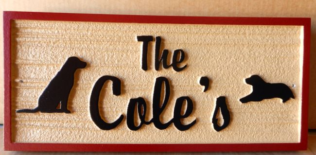 "I18620 - Residence Name Sign ""The Coles"" with Two Dogs in Silhouette"