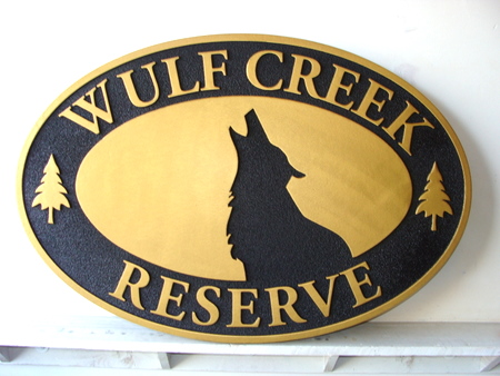 G16240 - Wildlife Reserve Carved Cedar Sign, with Wolf's Head