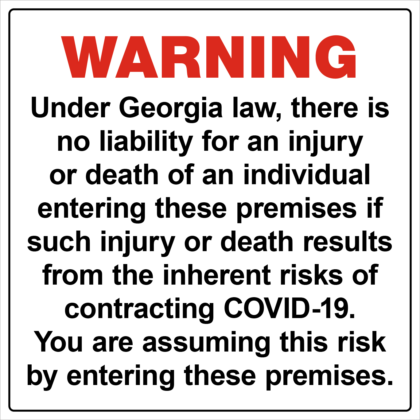 Liability Sign