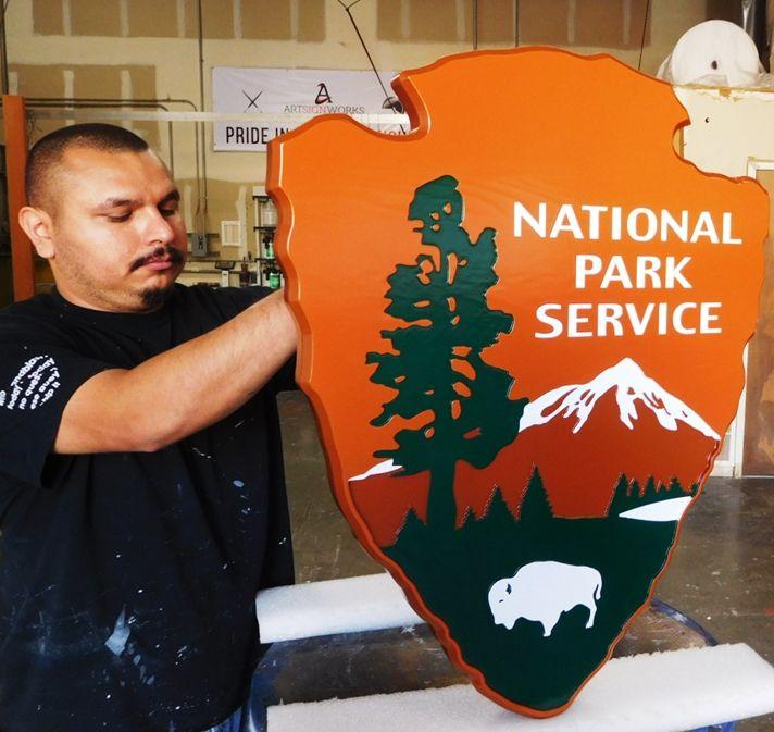 "G16070 - Carved Cedar Wood Emblem of the National Park Service, the ""Arrow"""