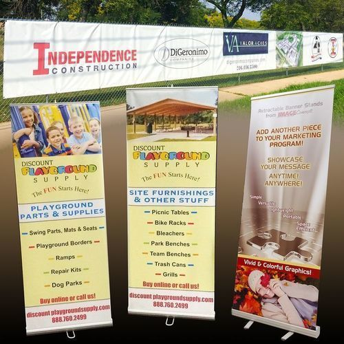 3 pull-up banners on stands, oversize fence banner