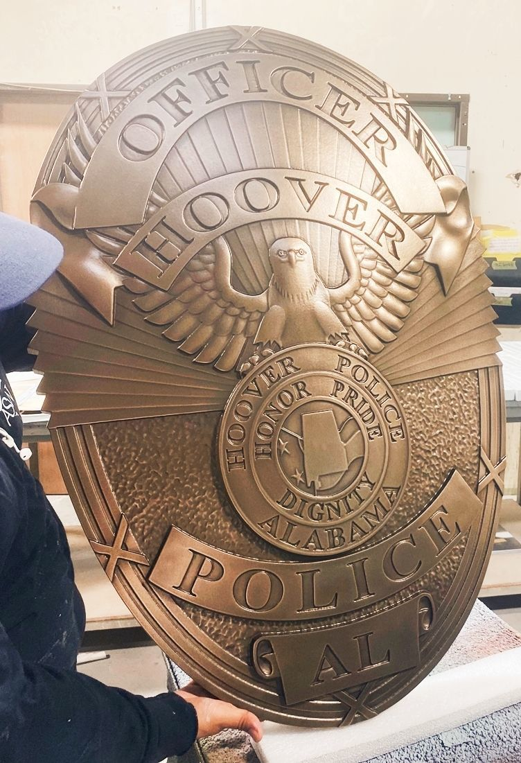 PP-1283 - Carved 3-D Bronze-Plated Plaque of the Badge of a Police Officer, Hoover, Alabama