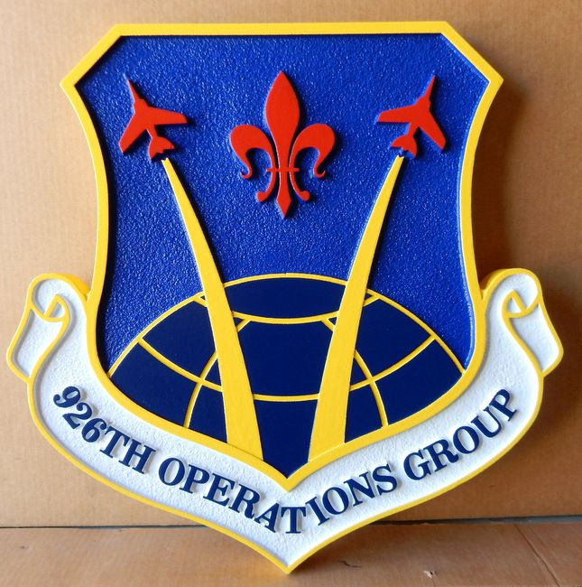 LP-2260 - Carved Shield Plaque of the Crest of the 926th Operations Group, Artist Painted