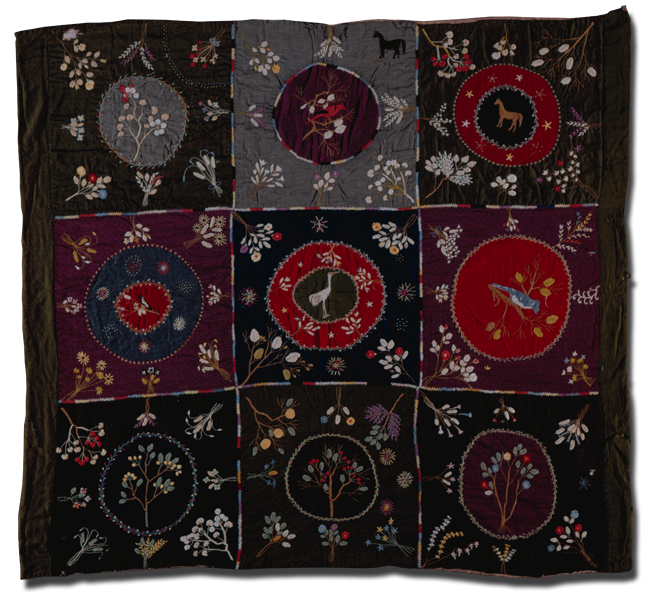 Embroidered Wool Quilt, made by Mrs. Schacht, made in Westphalia, Germany, circa 1864, 78 x 72 in, IQSCM 2009.047.0001
