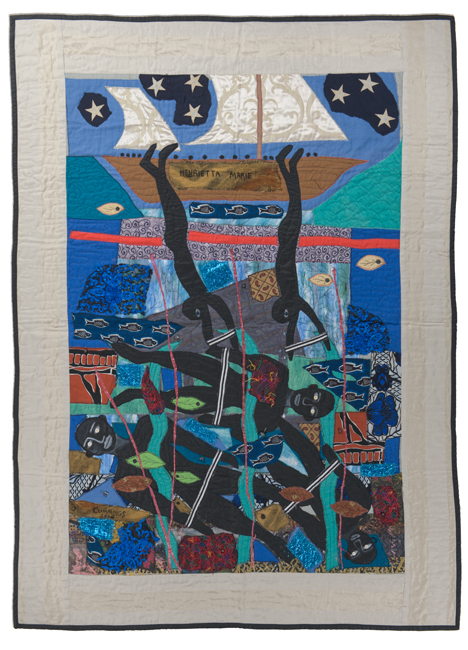 'Escaping Slave Ship,' made by Michael Cummings, made in New York, 2006, hand and machine stitched, painted and embellished, 90 x 67""