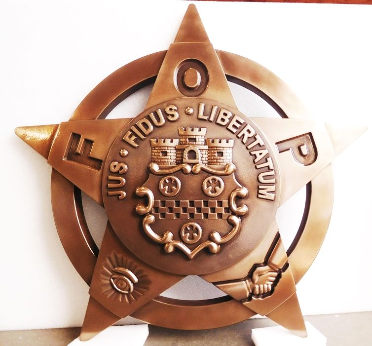 PP-1800 - Carved Wall Plaque of the Star Badge Emblem of the Fraternal Order of Police,  Bronze Plated