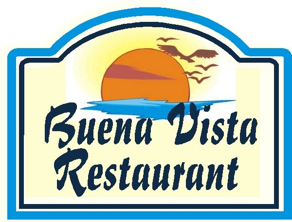 Q25160 - Design of Carved Wood  Sign for Oceanside Restaurant with Ocean, Sun and Seagulls