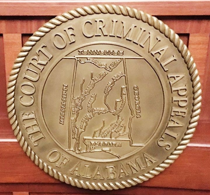 GP-1056 - Carved 3-D  Plaque of the Seal of the Court of Criminal Appeals, State of Alabama, Brass -Plated