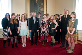 "Senate Majority Leader J.T. ""Jabo"" Waggoner with ASFA students."