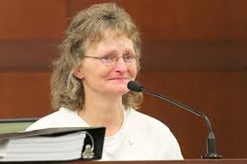 Deb on the witness stand in 2011, finally getting a chance to speak