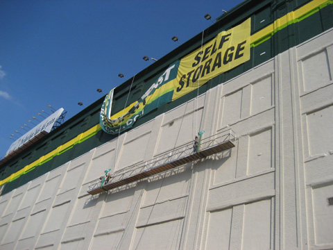 Storage Post Wall Banner Installation