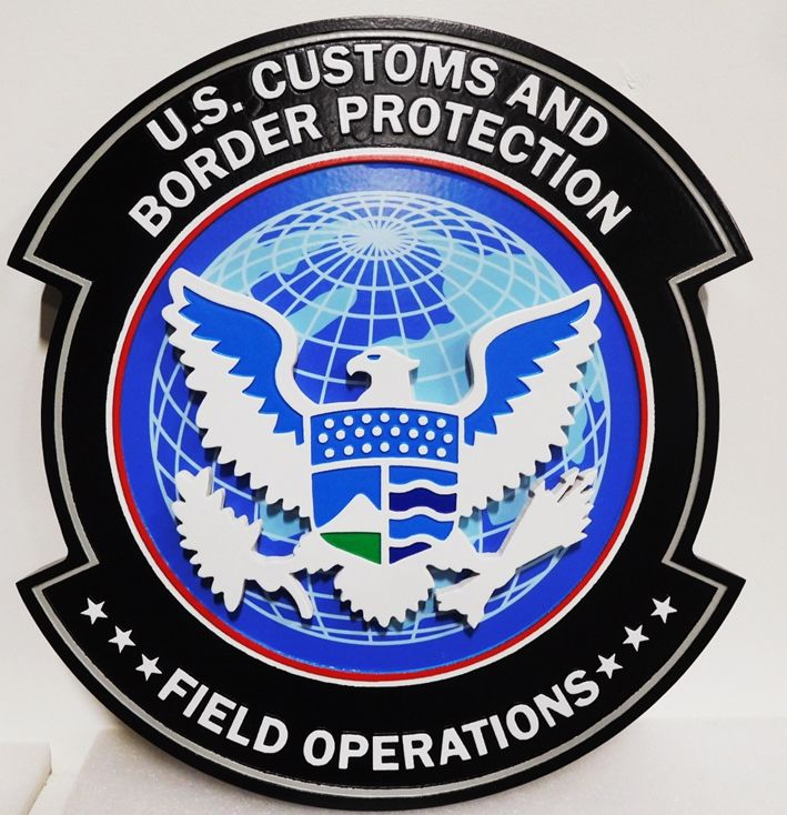 AP-4160 - Carved Plaque of US Customs & Border Protection, Artist Painted