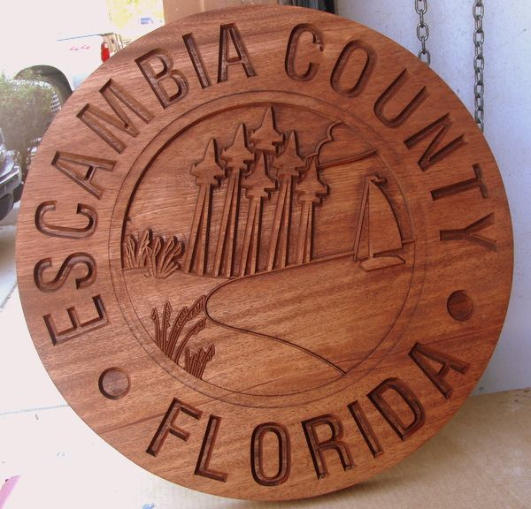 CP-1180 -  Carved Plaque of the Seal of Escambia County, Florida,  Engraved Redwood