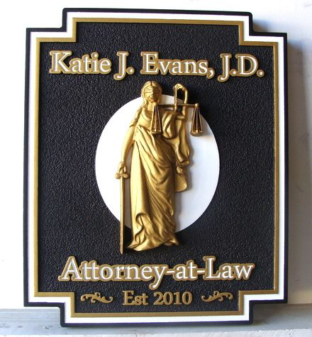 A10184 - Carved  Attorney Sign with Lady Justice