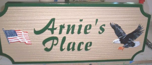 "I18513- Carved and Sandblasted  Residence Name Sign ""Arnie's Place"" with Bald Eagle and US Flag"