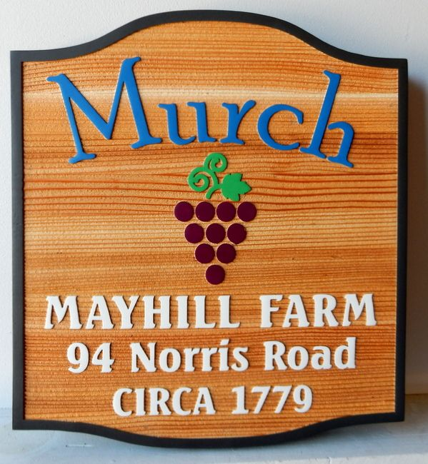O24732 - Carved Cedar Wood Sign for Mayhill Farm and Vineyard with Address and Carved Grape Cluster