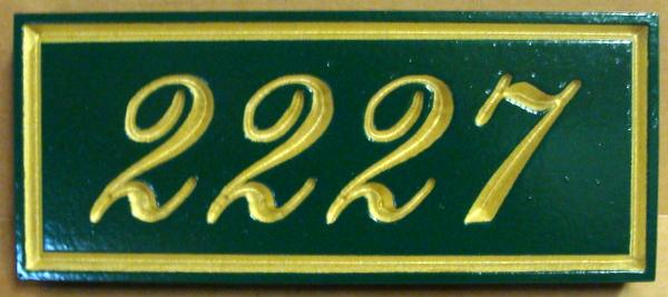 """I18876 - Engraved Property Address Number Sign """"2227"""", with 24K Gold Leaf Gilding"""