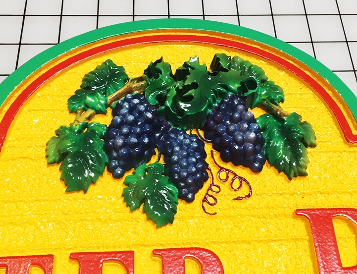 R27440 - Carved 3-D  Grape Fruit and Leaf Cluster Applique, Artist-brush Painted Blue, Can be Mounted on Any Sign
