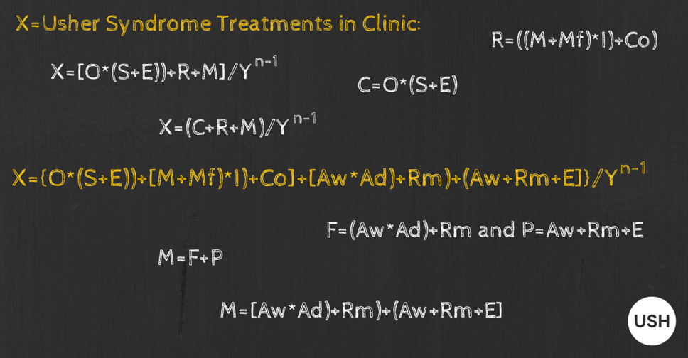 Image showing a chalkboard with mathematical formulas showing how to get Usher syndrome treatments to clinic
