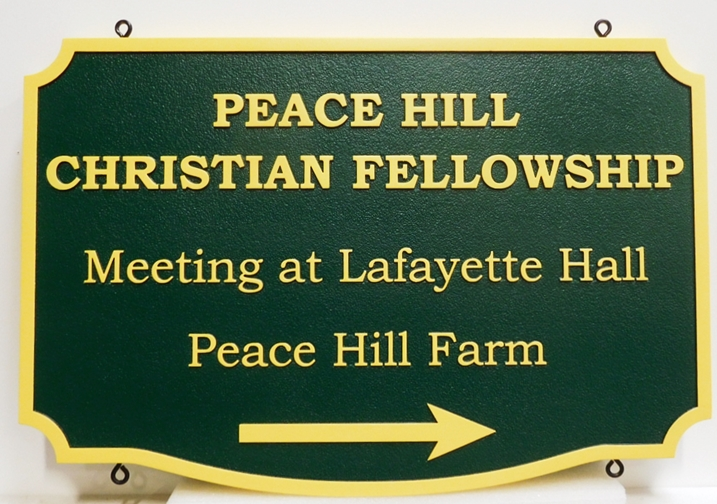 "D13142 - Carved Directional Sign for the ""Peace Hill Christian Fellowship"", 2.5-D Raised Relief"