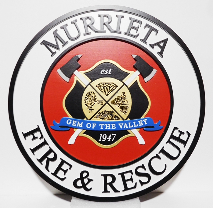 QP-3005 - Carved Plaque of the Seal/Logo of the  Fire and Rescue Department, Murrieta, California, 2.5-D Artist-Painted