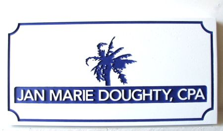 C12091- Engraved and Sandblasted CPA Sign with Palm Tree