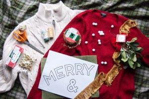 Goodwill DIY Couples Holiday Sweaters