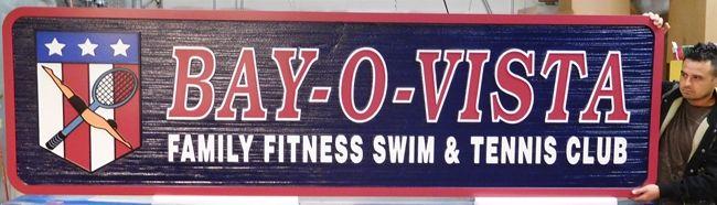 "S28038 - Large Colorful  ""Bay-O-Vista""  Sandblasted (Wood Grain) HDU Sign, for Swim and Tennis Club"