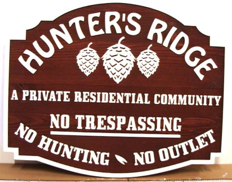 "K20155 - Carved Cedar Residential Community Sign, ""Hunters Ridge"", with Pinecones"