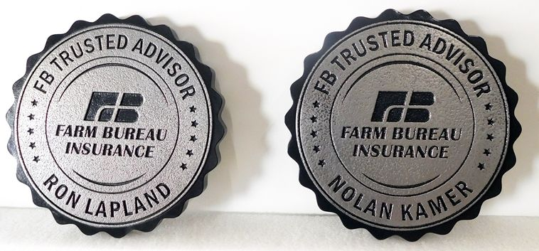 C12516 - Engraved Round Farm Bureau Insurance Plaques, Aluminum-Plated