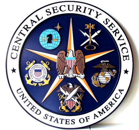 AP-3020 - Carved Plaque of the Seal of the US Central Security Service,  Artist Painted