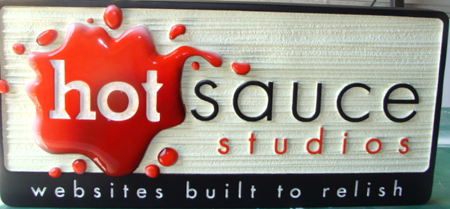 M2315 Outdoor Sign for Hot Sauce Studios, with 3-D Blob of Sauce and Sandblasted Wood Grain Pattern Background (Gallery 28A)