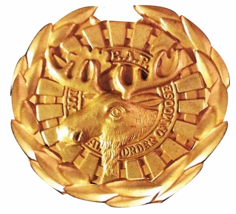 UP-2080 - Carved Wall Plaque of the Loyal Order of the Moose Emblem, Gold Leaf Gilded