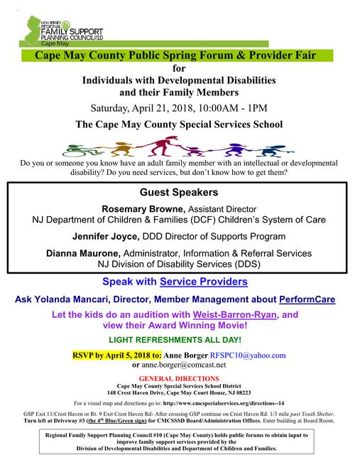 Cape May County Public Spring Forum & Provider Fair