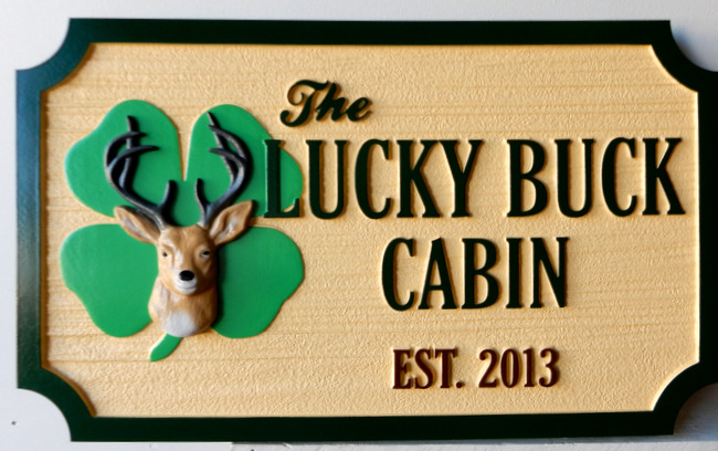 M22624 - Sandblasted, Carved  HDU Sign for Lucky Buck Cabin with Shamrock and 3-D Carved Buck Deer
