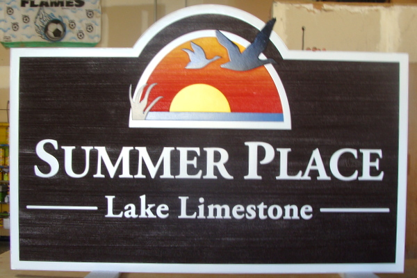 "M22380 - Carved Sign for Lake House, "" Summer Place"", with Sunset over a Lake and Flying Geese"