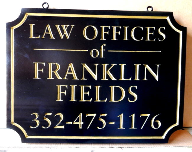 A10027 - Engraved Law Office Hanging Sign, with 24K Gold-Leaf Gilded Text