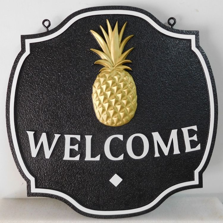 L21806 - Carved and Sandblasted Welcome Sign for Coastal Residence, with 3-D Pineapple