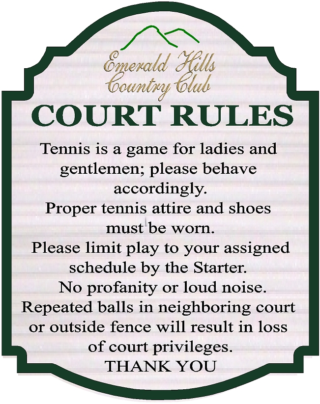 GB16858-  Carved HDU Tennis Court Rules Sign for the Emerald Hills Country Club