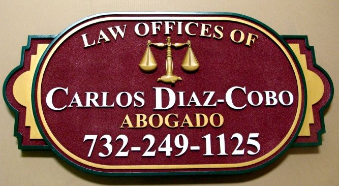 A10119 - HDU Carved Law Office Sign
