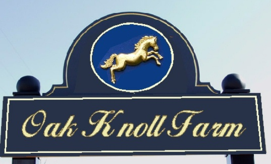 "P25006- Carved HDU ""Oak Knoll Farm"" Sign with 3-D image of Rearing Horse"