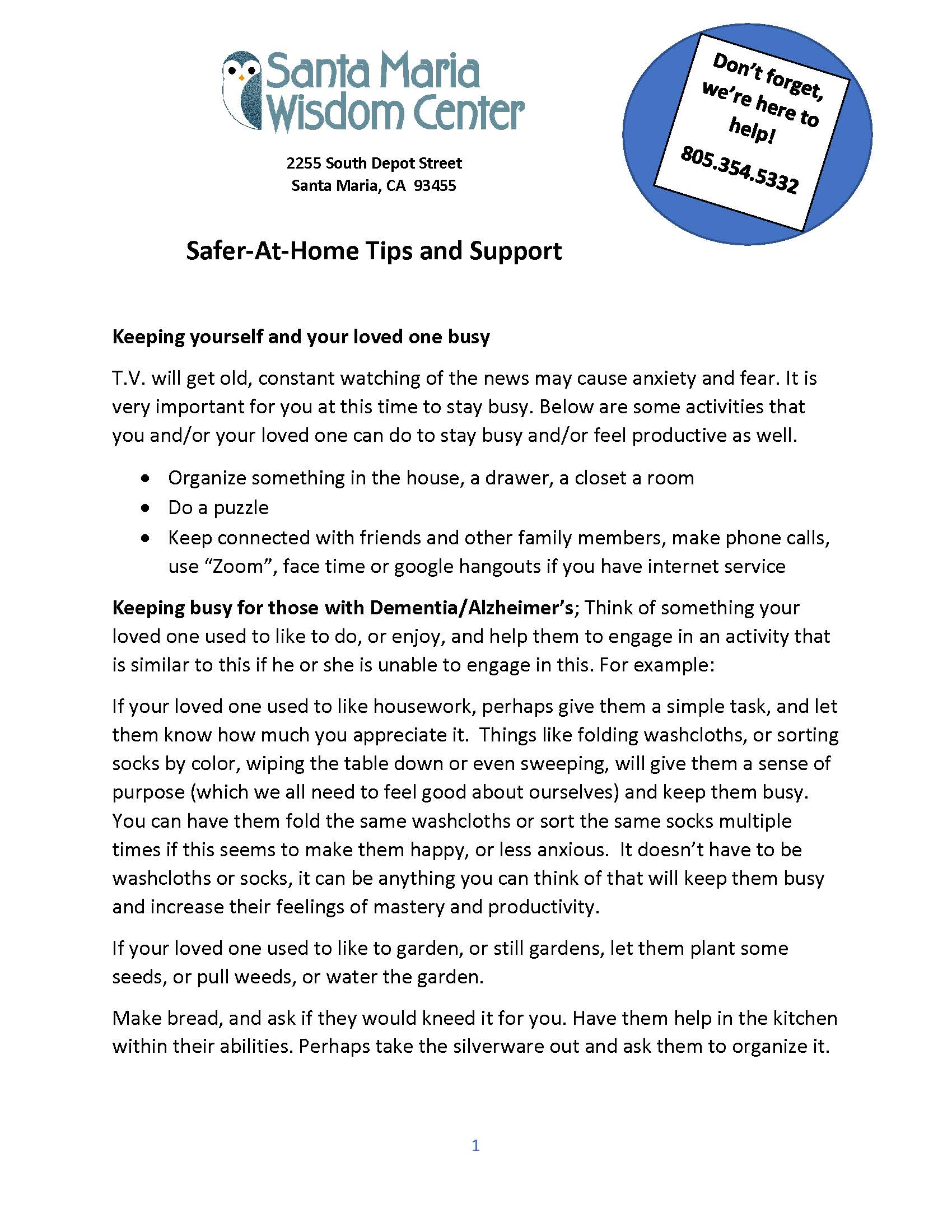 Safer-At-Home Tips and Support