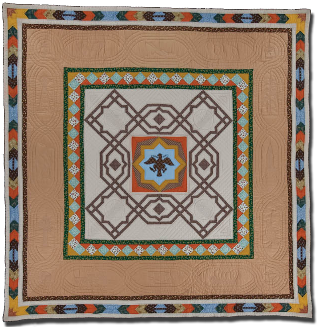 'Nebraska is America,' made by Members of Lincoln Quilters Guild, made in Lincoln, Nebraska, United States, dated 1976, 100 x 98 in, IQSCM 2005.028.0001