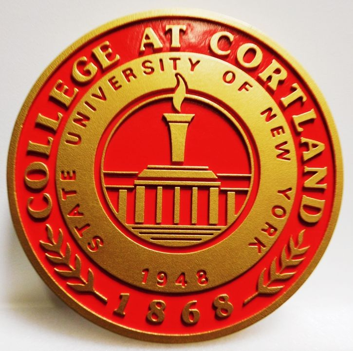 RP-1650 - Carved Plaque of the Seal of the College at Cortland, State University of New York, 2.5-D Artist-Painted