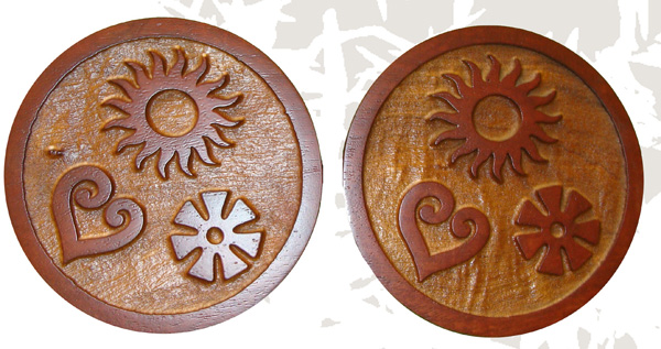 N23214 -  Carved and Sandblasted 3-D Round African Mahogany Wall Plaque, with Stylized Raised Artwork