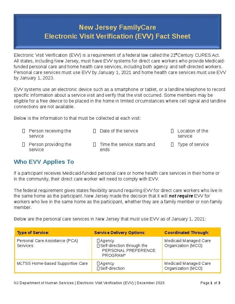 New Jersey FamilyCare Electronic Visit Verification (EVV) Fact Sheet