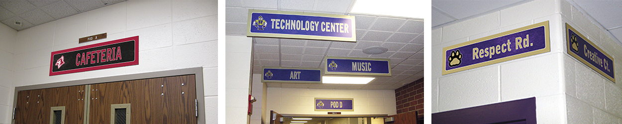 3 pictures school signs, hallway signs, room signs, custom signs in many colors with logos